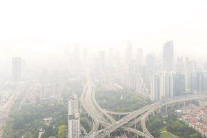 Aerial View of Shanghai Highway in Fog